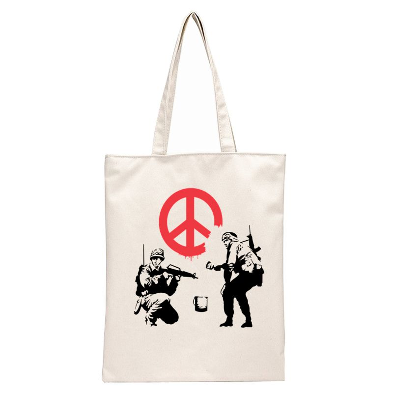 Soldiers painting Peace Sign - Banksy Tote Bag