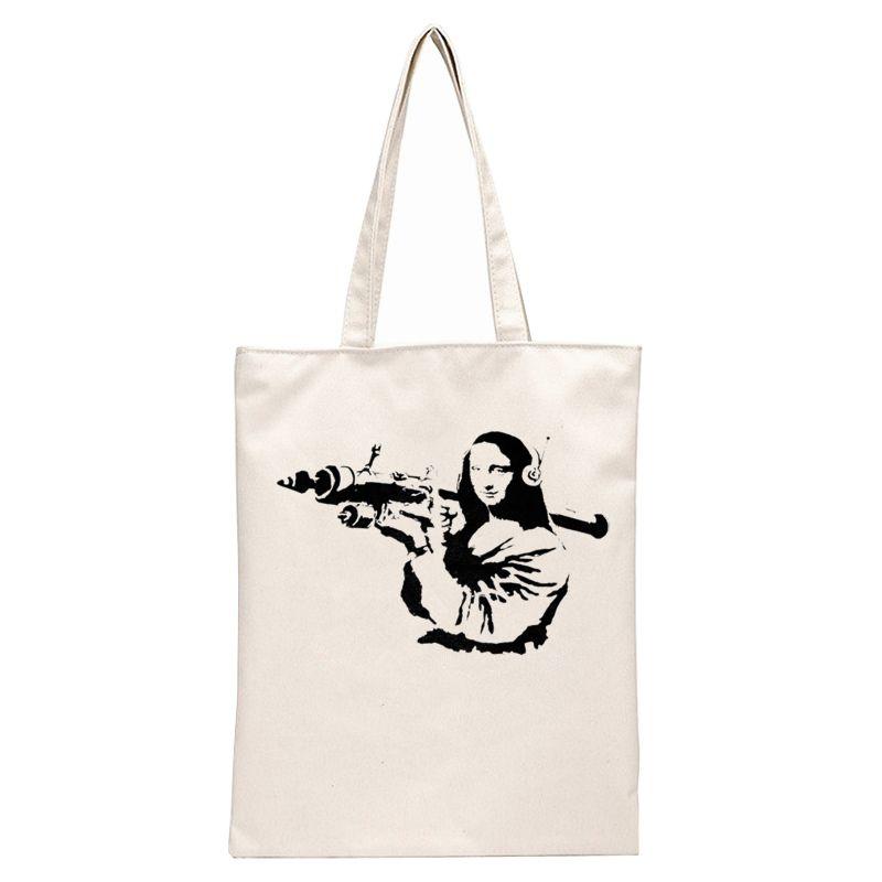 Monalisa with RPG - Banksy Tote Bags